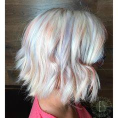 ice blonde wavy bob with rose gold pink and smokey lavender balayage