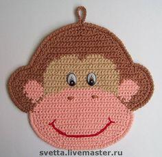 Ravelry: 080 Monkey potholder or decor pattern by LittleOwlsHut LANGUAGE: Plastic Bag Crochet, Crochet Hot Pads, Crochet Baby, Crochet Geek, Form Crochet, Double Crochet, Single Crochet, Crochet Potholder Patterns, Crochet Kitchen
