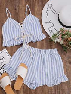 Shop Striped Lace Up Smocked Cami And Ruffle Shorts Co-Ord online. SheIn offers Striped Lace Up Smocked Cami And Ruffle Shorts Co-Ord & more to fit your fashionable needs. Mode Outfits, Fashion Outfits, Womens Fashion, Fashion Trends, Ootd Fashion, Shorts Co Ord, Frill Shorts, Summer Outfits, Casual Outfits