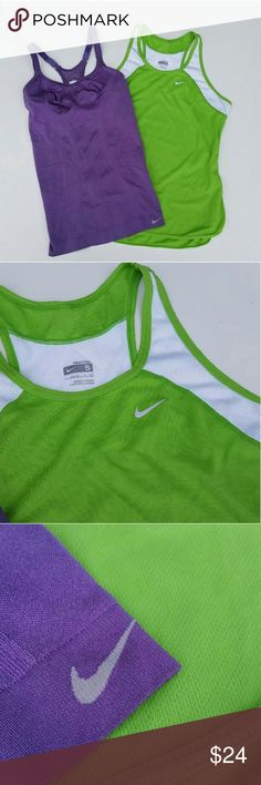 Nike Dry-fit S tank top 's / shirt s Nike DRY-FIT exercise tank top 's / shirt 's.  Both size small. 1 purple and 1 lime green with white.  Great condition!  Exellant for running ,  jogging , yoga , gym , working out. Nike Tops Tank Tops