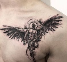 ▷ ideas for an angel tattoo and infos about the popular .- ▷ 1001 + Ideen für ein Engel Tattoo und Infos über die populärsten Designs angel tattoo on breast, blackwork tattoo, man with big wings and sacred certificate, tattoo ideas - Best Sleeve Tattoos, Back Tattoos, Body Art Tattoos, Tattoos For Guys, Tattoos For Women, Angle Tattoo For Men, Mens Tattoos, Tribal Tattoos, Tatoos