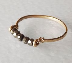 Hammered Gold Filled Pyrite Gemstack Ring  by BellatrinaJewelry, $27.00