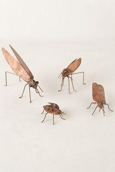Copper Garden Bugs via Anthropologie Garden Bugs, Green Garden, Woodland House, Metal Crafts, Copper Crafts, Iron Work, Water Flowers, Garden Accessories, Work Inspiration