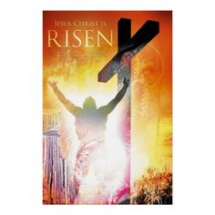 Christian Art Poster: JESUS CHRIST IS RISEN - This stunning Christian art poster shows the resurrection of Jesus Christ. Bible verse: 'For to this end Christ died and rose and lived again, that He might be Lord of both the dead and the living.' (Romans 14:9)