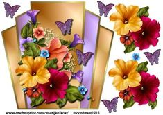 Petunias Butterflies topper on Craftsuprint designed by Marijke Kok - Beautiful topper with petunias and butterflies, for any occasion. - Now available for download!