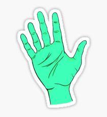 Green Alien Hand Pegatina