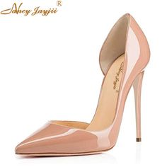 Classic Nude Spring Autumn Women Patent Leather Pumps High-heeled Shoes Thin High Heel Casual Shoes Korean Pointed Stiletto  #Affiliate