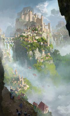 Fantasy Stadt by Yu Yiming on ArtStation Fantasy City, Fantasy Castle, Fantasy Places, Fantasy Kunst, Fantasy World, Fantasy Queen, Fantasy Dress, Dark Fantasy, Fantasy Art Landscapes