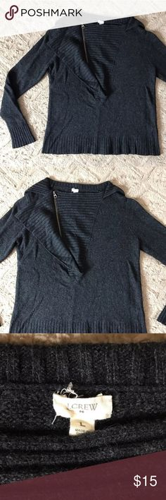 """J Crew Gray Half Zip Wool Alpaca Henley Sweater L J Crew Large Charcoal Gray Half Zip Wool Alpaca Blend Henley Sweater  *Normal signs of wear and wash, good condition. Measurements: 36"""" Bust 21"""" Length J. Crew Sweaters"""