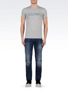 Camiseta Emporio Armani Men's Crew Neck Cotton T-Shirt With Logo Light Grey #Camiseta #Emporio Armani