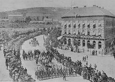 Budapest, a volt Moszkva tér 1896. (Millenniumi díszfelvonulás)