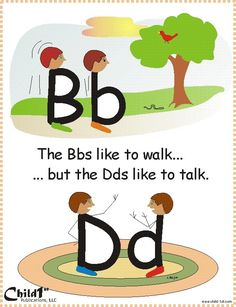 """Dyslexie en Engels Good way to teach how to differentiate between """"b"""" and """"d"""" Very Clever! Kindergarten Literacy, Early Literacy, Kindergarten Language Arts, Alphabet Activities, Teaching Reading, Fun Learning, Visual Learning, Reading School, Educational Activities"""