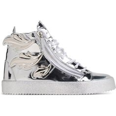 Giuseppe Zanotti Design High-Top Sneakers ($1,085) ❤ liked on Polyvore featuring shoes, sneakers, silver, leather sneakers, high top zipper sneakers, giuseppe zanotti shoes, leather flat shoes and flat sneakers