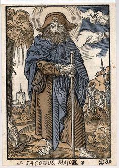 Jacobus als pelgrim met op de achtergrond zijn onthoofding.