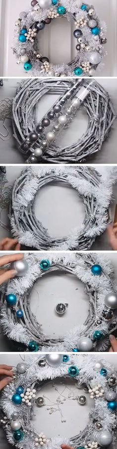 21 Brilliant DIYs for Christmas Wreaths: Silver Wreath - Diy & Crafts Ideas Magazine Christmas Wreaths To Make, Noel Christmas, Homemade Christmas, Holiday Wreaths, Diy Christmas Gifts, Christmas Projects, Christmas Decorations, Christmas Ornaments, Winter Wreaths