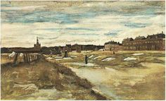 Bleaching Ground Vincent van Gogh Fecha: Haag / Den Haag / La Haye / The Hague, Netherlands Estilo: Realismo Género: paisaje urbano Media: wash, acuarela, paper Vincent Van Gogh, Art Van, Van Gogh Arte, La Haye, White Gouache, Van Gogh Paintings, Getty Museum, Post Impressionism, Pointillism