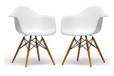 Pascal White Molded Plastic Chair with Brown Wood Legs | Chicago Furniture 55.00