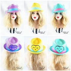 Color Block Face Veil Straw Fedora Hat Yellow