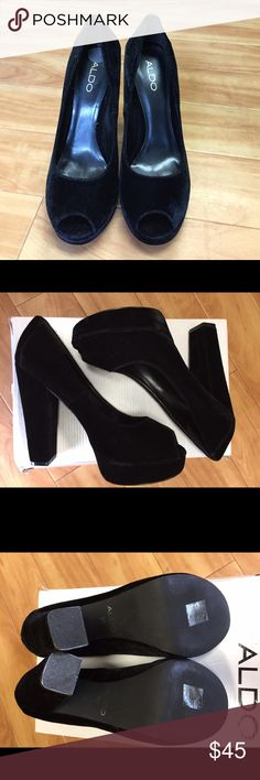 Selling this Aldo Black Velvet Peep Toe Pumps on Poshmark! My username is: lchase2320. #shopmycloset #poshmark #fashion #shopping #style #forsale #Aldo #Shoes