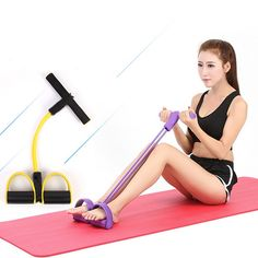 New Single Tube Strong Fitness Resistance Bands Latex Pedal Exerciser Women Men Sit Up Pull Ropes Yoga Fitness Equipment Up Fitness, Physical Fitness, Fitness Tracker, Mens Fitness, Fitness Tips, Fitness Motivation, No Equipment Workout, Workout Gear, Fitness Equipment