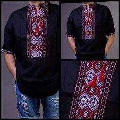 VYSHYVANKA mens Black Red White Embroidery Linen SHIRT Short sleeve Thanksgiving #Unbranded #Folk