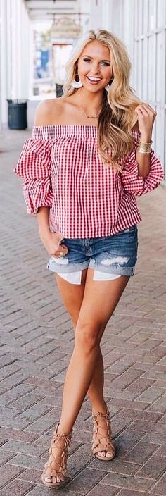 #spring #outfits  woman wearing red and white gingham off-shoulder shirt and blue-washed short shorts. Pic by @shealeighmills