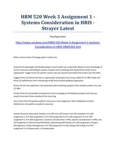 Hrm 520 week 3 assignment 1 systems consideration in hris strayer latest
