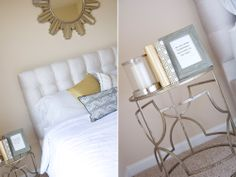 Tuffed headboard and end table decor // http://lovehlee.blogspot.com