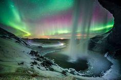 Seljalandsfoss - Bathing in Aurora by OZZO Photography on 500px