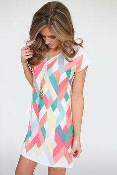 Kaleidoscope Print Short Sleeve Dress - Coral Multi - Magnolia Boutique