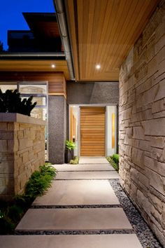Exterior, Modern Entry With Elegant Square Concrete Walkway And Stones For Entry Way Impressive Concrete Walkway Design Pictures ~ Get Traditional Look By Use Concrete Walkway Design Ideas Modern Entry, Modern Entrance, Entrance Ways, Entrance Design, House Entrance, Door Design, Design Design, Concrete Walkway, Cement Pavers