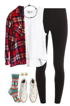 """what I wore today accept the flannel was huge and the socks had mistletoe on them"" by kaley-ii ❤ liked on Polyvore featuring Splendid, Converse and Honora"