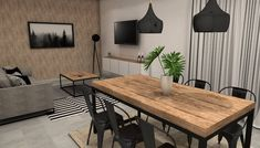 living room integrated industrial style highlights a wall using wallpaper living - The world's most private search engine Industrial Living, Industrial Style, Söderhamn Sofa, Interior Design Instagram, House Goals, Ideal Home, New Homes, Dining Table, House Design