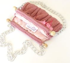 knitted bag purse rose pink hand knitted shoulder bag by PinKyJubb, $55.00