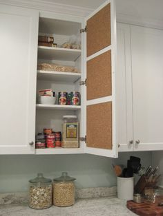 Before there was Pinterest, there was cork board. Affix cork board inside cabinet doors. Great for pinning menus, shopping lists, recipes, chore charts, medication schedules for kids or pets, words of inspiration, etc.