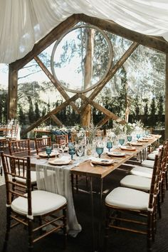 Modern rustic Calamigos Ranch wedding reception featuring geometric architecture details | image byKristen Victoria Photography