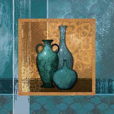 Modern Moroccan Textured Pots Vessels Still Life Painting Blue & Tan Canvas Art by Pied Piper Creative