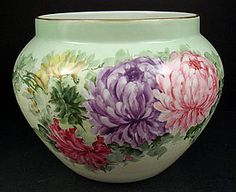 Huge ` Antique ~ B&C (Bernardaud & Co.) Limoges Jardinière ~ It is hand painted with brightly colored Chrysanthemums in an art nouveau style ~ The ground color is mint green that shades from lighter to a bit darker from top to bottom ~ There is gold trim on the rim ~ Produced in France ~ Circa 1900-1914