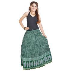 Indigocart Dark Green Fine Cotton Skirt
