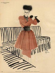 Jean Dessès 1945 René Gruau Fashion Illustration