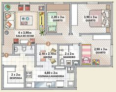 1000 images about departamentos on pinterest studio for 80m2 apartment design