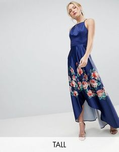 Chi Chi London Tall High Low Midi Dress with Placement Floral Print