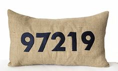 """Decorative Throw Pillow Cover in Natural Burlap with Custom Monogram - Handmade Lumbar Pillowcase - Zip Code Pillow Cover - Initial Cushion Cover- Personalized Pillow Covers - Dorm Decor - Gift - 12""""x20"""" Amore Beaute http://smile.amazon.com/dp/B00VNS7PMY/ref=cm_sw_r_pi_dp_qfS.vb0V7N6ZD"""