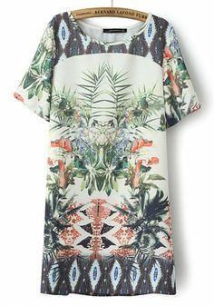 Multicolor Flowers Round Neck Short Sleeve Chiffon Dress