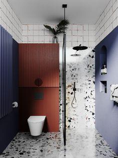 Bathroom design with terrazzo shower and flooring Bathroom Styling, Bathroom Interior Design, Modern Interior Design, Bathroom Tub Shower, Bathroom Renos, Vintage Bathrooms, Rustic Bathrooms, Bauhaus Interior, Bathroom Colors