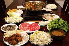 When it gets chilly near the holidays, all I can think about it da bin lo (Chinese hot pot). There's something so satisfying about dunking little wire baskets into a steaming pot full of veggies, tofu, and assorted meat and seafood. It is indeed a warm, communal affair - But it's important to keep an eye on your basket, as Grandma is always vying to steal the mushrooms and crab legs. -Jett
