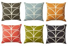 Stem cushions by queen of print Orla Kiely Orla Kiely Cushions, Orla Keily, Soft Furnishings, Family Room, Upholstery, Concept, Throw Pillows, Inspiration, Lounge