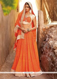 Epitome Georgette Orange Designer Saree Model  YOSAR3772