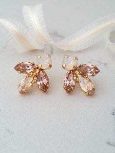 Bridal earrings,blush crystal stud earrings,Bridesmaid gift, Petite blush and champagne earring,Blush Cluster earring,Vintage Bridal earring by EldorTinaJewelry on Etsy  http://etsy.me/2c8svI0