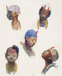 Carybé - Iaôs de Oxumarê, Ogum, Oxóssi, Yemanjá e Oxum